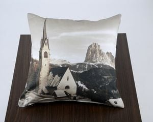 "Pillow  Dolomiti sepia- ""S. Jakob - church"""